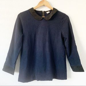 J. Crew Blue  Peter Pan Collar Sweatshirt